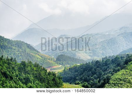 Scenic View Of The Hoang Lien Mountains, Sapa, Vietnam
