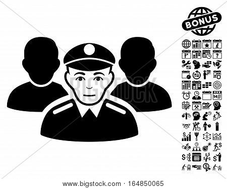 Army Team icon with bonus business time management and calendar icon set. Vector illustration style is flat iconic symbols black color white background.