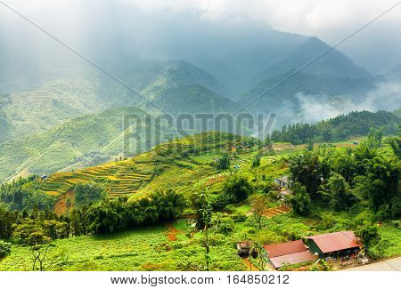 Rice Terraces At Highlands And Rays Of Sunlight Through Clouds