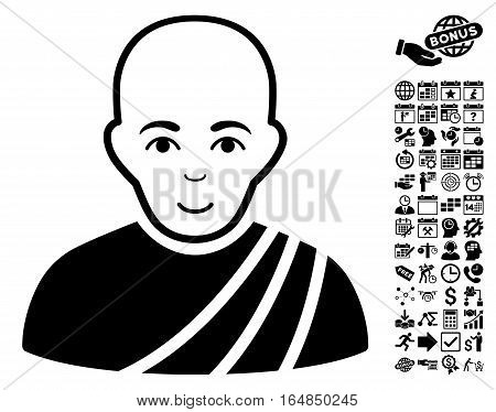 Buddhist Monk icon with bonus business time management and calendar images. Vector illustration style is flat iconic symbols black color white background.