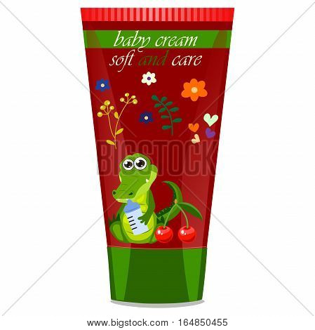High quality original trendy vector cherry Baby cream tube with kids design and crocodile or alligator on floral background illustration