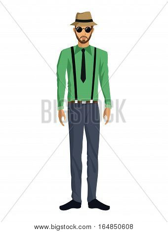 man bearded casual fashion hat glasses pants suspenders vector illustration eps 10