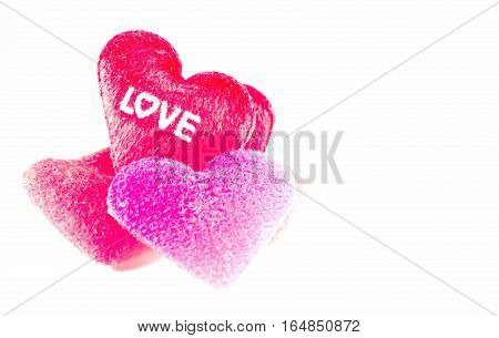 Red Heart Pillows with word Love on withe background