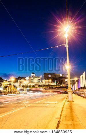 Roads in the city of Moscow with traces of lights on long exposure