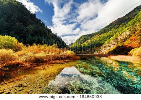 Amazing Crystal Clear Water Of River Among Mountains In Autumn