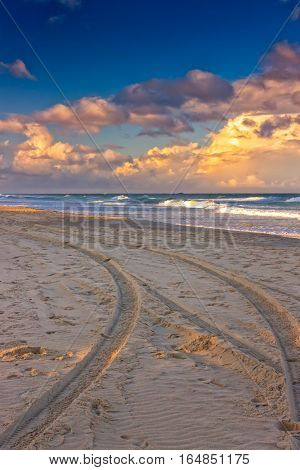 Lifeguard's buggy has left tracks on a beach in the city of Gold Coast Queensland Australia. The setting sun colors the beach beautifully.
