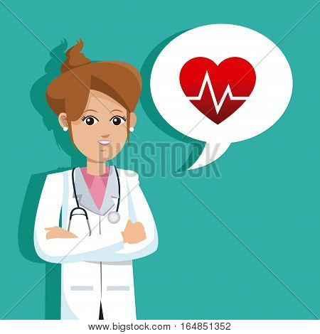 doctor female cossed arms with heart rate bubble speech vector illustration eps 10