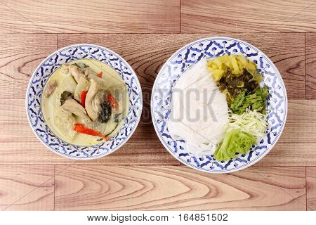 Rice Noodle And Green Chicken Curry In Coconut Milk.