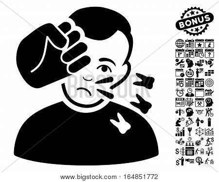 Head Strike pictograph with bonus business time management and calendar symbols. Vector illustration style is flat iconic symbols black color white background.