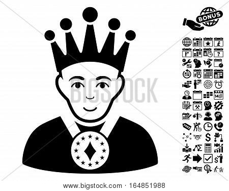 King icon with bonus business time management and calendar design elements. Vector illustration style is flat iconic symbols black color white background.