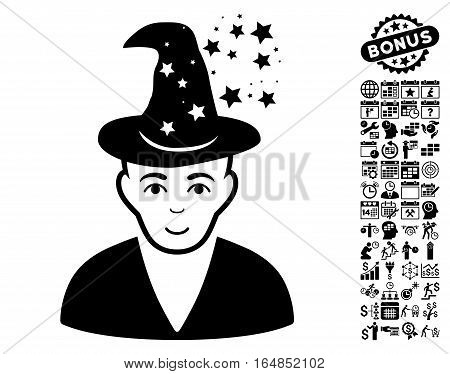 Magic Master pictograph with bonus business time management and calendar clip art. Vector illustration style is flat iconic symbols black color white background.