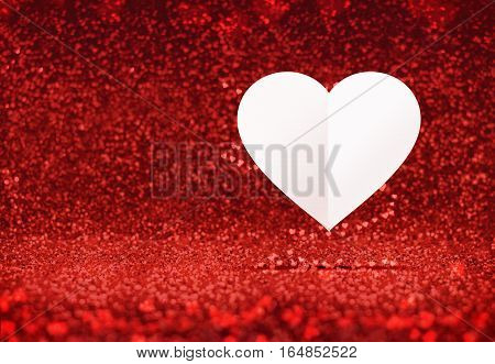 Paper White Heart Floating At Red Sparkling Glitter Room Background,valentine's Day Card ,leave Spac