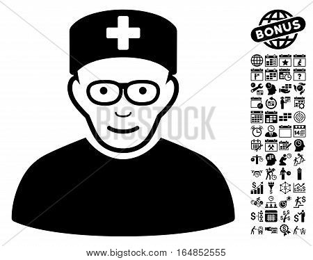 Medical Specialist icon with bonus business time management and calendar design elements. Vector illustration style is flat iconic symbols black color white background.