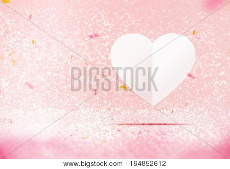 Paper White Heart Floating At Pastel Pink Sparkling Glitter Room With Confetti Paper,valentine's Day