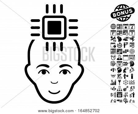 Neural Computer Interface pictograph with bonus business time management and calendar pictures. Vector illustration style is flat iconic symbols black color white background.