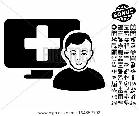 Online Medicine icon with bonus business time management and calendar graphic icons. Vector illustration style is flat iconic symbols black color white background.