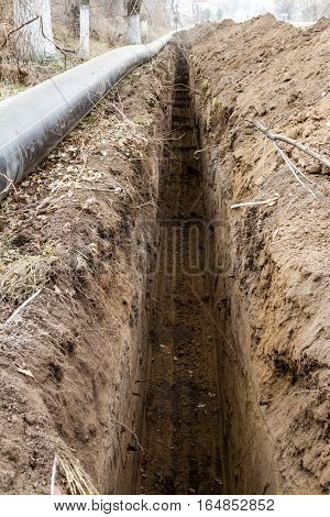 Trench Laying Pipe