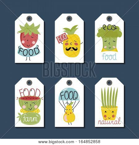 Eco and bio food labels set isolated on blue background. Natural farm products price tags with pineapple, strawberry, watermelon and pear cartoon characters. Healthy eating. Eco friendly products. Organic food logo. Farm food icon.