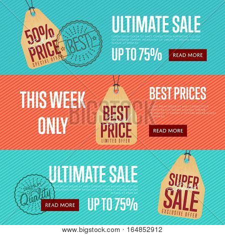Ultimate sale discount banner set vector illustration. This week only sticker, limited offer tag, advertisement retail label, best price flyer, super sale shopping symbol. Modern style offer sign.