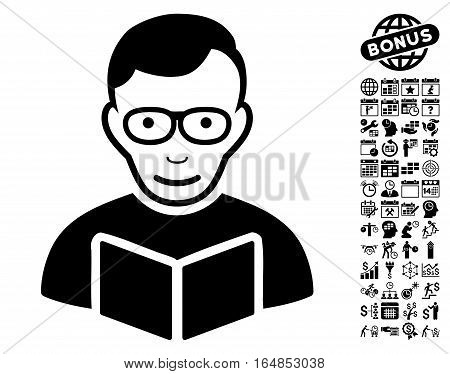 Reader pictograph with bonus business time management and calendar pictograms. Vector illustration style is flat iconic symbols black color white background.