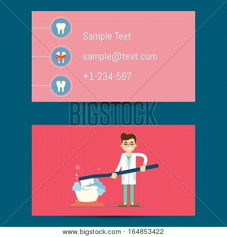 Professional business vector photo free trial bigstock professional business card template for dentists with cartoon man in medical uniform brushing big tooth reheart Image collections