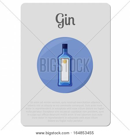 Gin alcohol. Sticker with bottle and description vector illustration