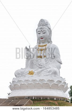 Statue of Guan yin Chinese Goddess on white background.