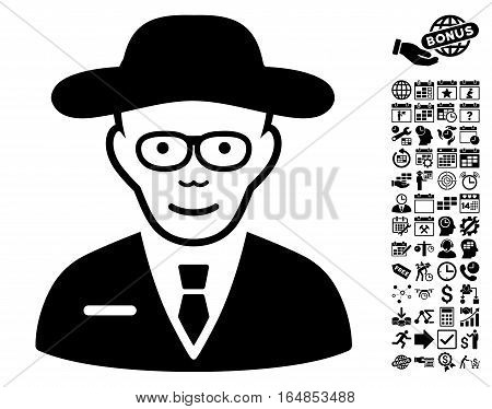 Scientist icon with bonus business time management and calendar pictograph collection. Vector illustration style is flat iconic symbols black color white background.