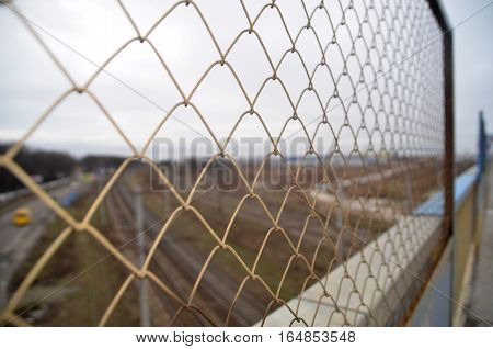 Chain link grid fence close view, prison boundary or private property