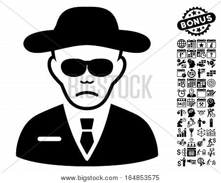 Security Agent icon with bonus business time management and calendar design elements. Vector illustration style is flat iconic symbols black color white background.