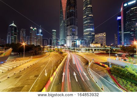 Night View Of Century Avenue With Famous Skyscrapers Of Shanghai