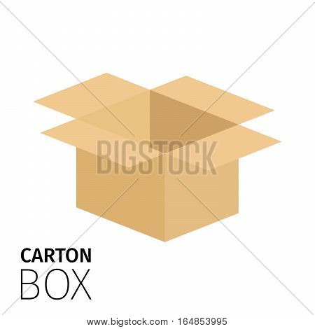 Carton opened square box pack. Vector flat item isolated on white