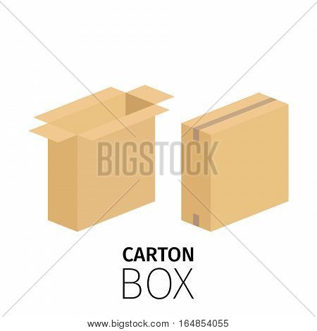 Carton vertical box pack. Vector flat items isolated on white. Closed and opened boxes