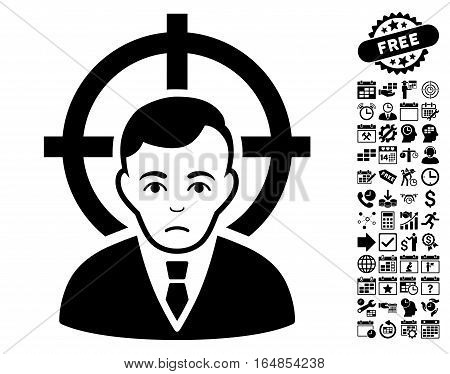 Victim Businessman pictograph with bonus business time management and calendar design elements. Vector illustration style is flat iconic symbols black color white background.