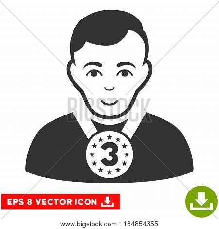 Vector 3rd Prizer Sportsman EPS vector icon. Illustration style is flat iconic gray symbol on a transparent background.