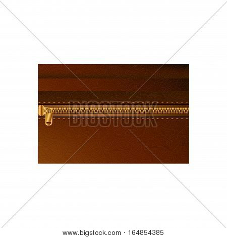 Leather with zipper icon. Texture material natural skin and textile theme. Isolated design. Vector illustration