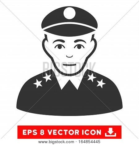 Vector Army General EPS vector pictogram. Illustration style is flat iconic gray symbol on a transparent background.