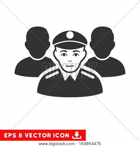 Vector Army Team EPS vector icon. Illustration style is flat iconic gray symbol on a transparent background.