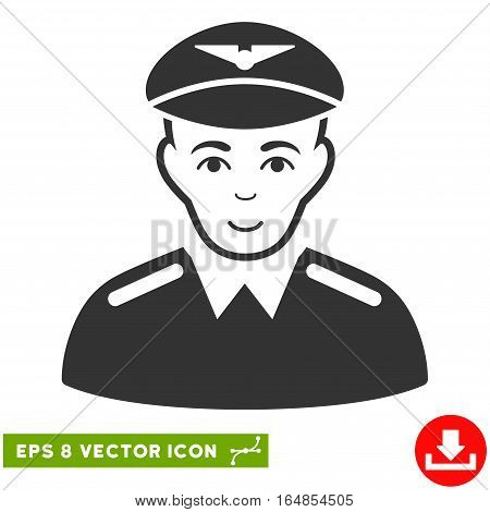Vector Aviator EPS vector icon. Illustration style is flat iconic gray symbol on a transparent background.