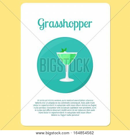 Grasshopper cocktail menu item or sticker.Party drink in circle icon vector illustration