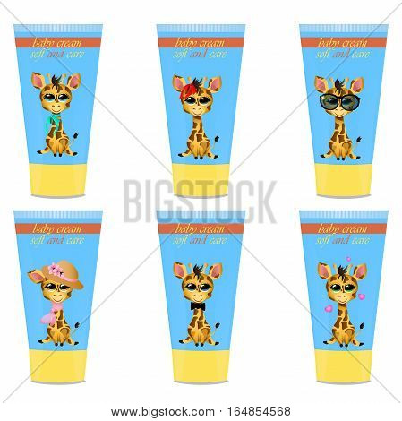 High quality original trendy vector set with Baby cream tube with kids design and giraffe illustration