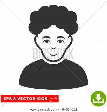 Vector Brunet Man EPS vector icon. Illustration style is flat iconic gray symbol on a transparent background.