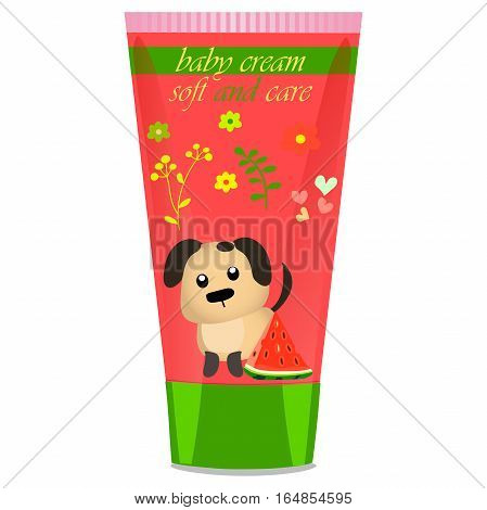 High quality original trendy vector Baby cream tube with kids design and dog illustration