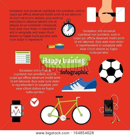 Happy training infographic design on red background. vector illustration