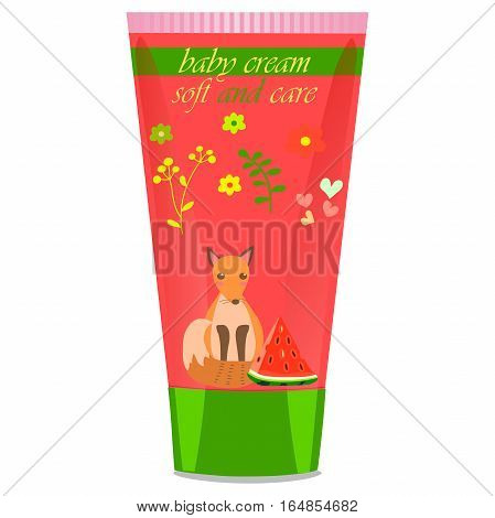 High quality original trendy vector watermelon Baby cream tube with kids design and fox on floral background illustration