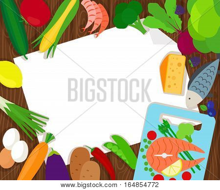 Healthy food and paper vector blank template, top view