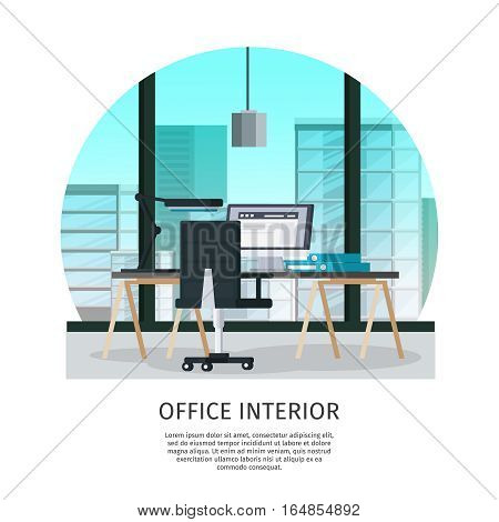 Office interior template with table chair laptop folders lamp and glass window vector illustration
