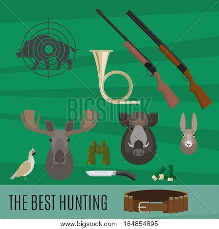 Hunting accessories and prey vector illustration, set of elements