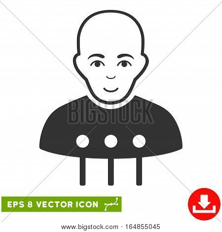 Vector Cyborg Interface EPS vector icon. Illustration style is flat iconic gray symbol on a transparent background.
