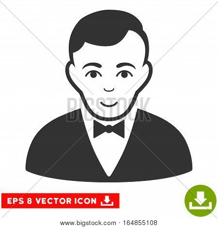 Vector Dealer EPS vector icon. Illustration style is flat iconic gray symbol on a transparent background.